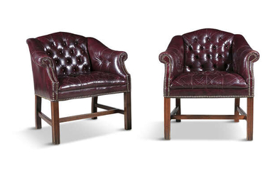 Description A PAIR OF BUTTON BACK LEATHER CLUB CHAIRS,...