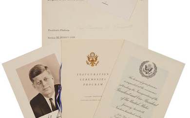 ELEANOR ROOSEVELT'S 1961 INVITATION AND TICKET TO KENNEDY'S INAUGURATION.