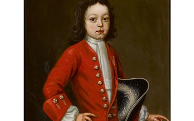 ENGLISH SCHOOL, 18TH CENTURY | A BOY IN A RED COAT PETTING HIS DOG