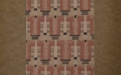 Eric BAGGE (1890-1978) Design of fabric with geometric crenellated grey-brown and white patterns. Gouache pasted on brown paper, signed Eric Bagge in blue ink, annotated taclercq in the upper right. Circa 1930. 29.3 x 19.2 cm