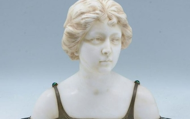 FANFANI MARBLE AND BRONZE BUST OF A MAIDEN