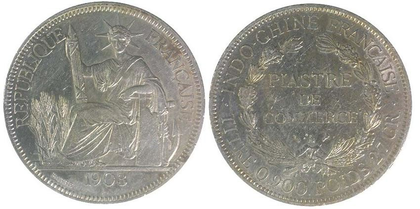 FRENCH INDO-CHINA Silver 1 Piastre 1903 (KM 5a.1) AU