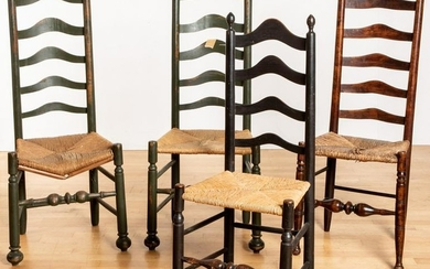 Four Delaware Valley ladderback side chairs