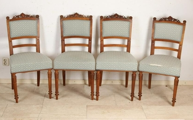 Four French walnut Henri Deux chairs, ca 1880