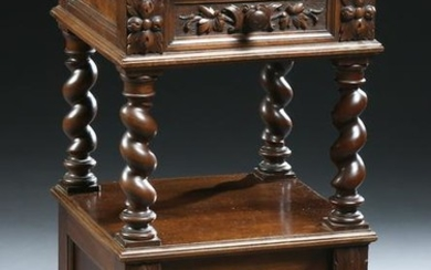 French Henri II Style Carved Walnut Marble Top Night
