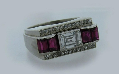French RUBY DIAMOND PLATINUM RING BAND Art Deco 1920s