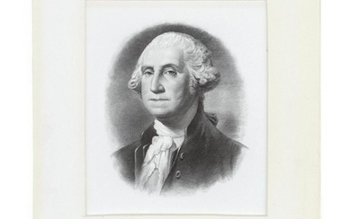 GEORGE WASHINGTON AUTOGRAPH Signed on a pre-printed document. Includes letter of authenticity. Matted with a steel engraving of Wash...