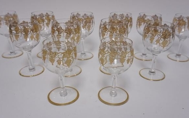 GRP OF 12 GOLD DECORATED GOBLETS