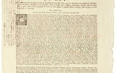 General of BORDEAUX (33). 1726. TOLL PRIVILEGES. Order of the Council of State of King LOUIS XV, of July 9, 26, which orders that in the fortnight of the day of publication, of the present Order, all Individuals who enjoy privileges, Gifts...