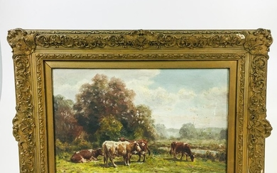 """George Arthur Hays (American, 1854-1945) The Meadowy Pasture. Titled, signed, and dated """"The Meadowy Pasture/GA Hays 1917"""" on the reve"""