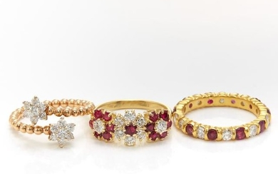 Gold, Ruby and Diamond Band Ring and Two Gold and Ruby Floret Rings