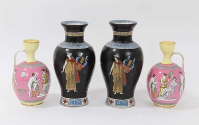 Good garniture of antique Greek revival ceramics, including a pair of pink ground urns by Brown-Westhead, Moore & Co, and a pair of Tuscan Grecian Ware vases (4)