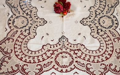 Gorgeous tablecloth x 12 in pure linen - 235 x 140 cm - Linen - First half 20th century