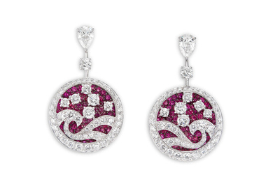 Graff, A Pair of Ruby and Diamond 'Wave' Ear Pendants, Graff