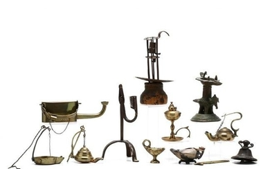 Group of Lighting Devices in Brass, Iron and Stone