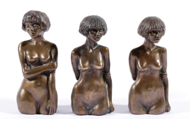 Group of Three Bronze Sculptures by Danielle Legge of Two Sage, and Tansy (H:13.5cm) with Certificates Limited ed no. 1/20 & 8/20