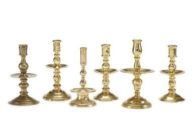 "Group of six brass ""Heemskerk"" candlesticks Dutch, second half..."