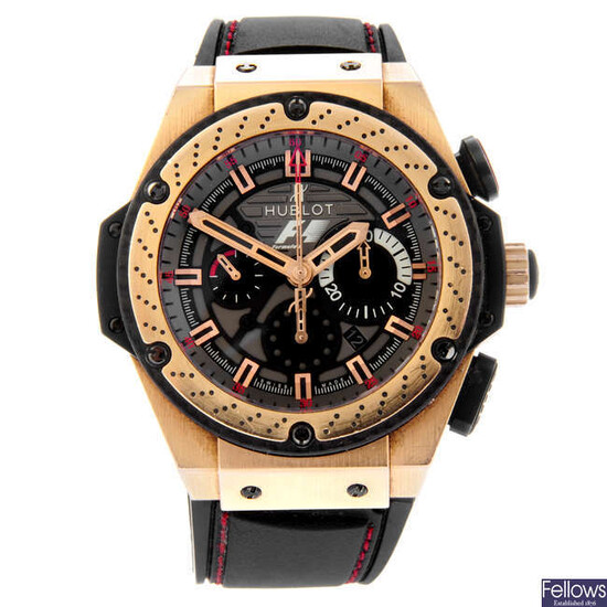 HUBLOT - a limited edition gentleman's bi-metal Big Bang King Power Formula 1 chronograph wrist watch.