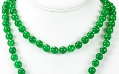 Hand Knotted Jade Bead 14k Diamond Clasp Necklace