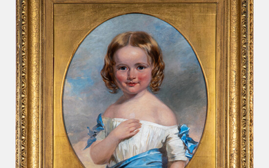 Henry Inman, (American, 1801-1846) - Portrait of a Young Girl in a White Dress