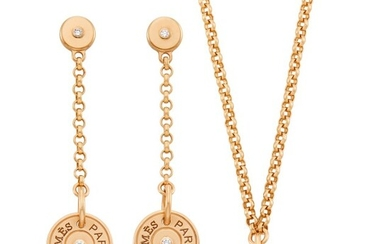 Hermès Rose Gold and Diamond 'Clou de Selle' Pendant Toggle Chain Necklace and Pair of Pendant-Earrings, France