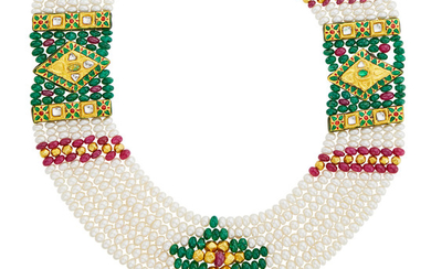 Indian Multistrand Freshwater Pearl, Emerald and Ruby Bead, Gold, White Sapphire and Enamel Necklace with Cord
