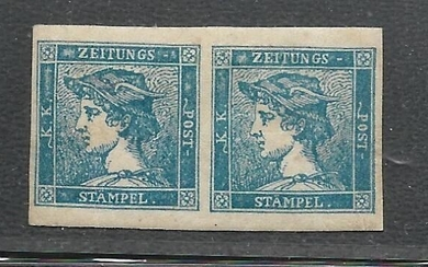 Italian Ancient States - Lombardo Veneto 1855 - Postage due for newspapers 3 cents - Mercury head 3rd type - pair - Sassone N. 3