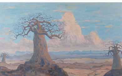 Jacobus Hendrik Pierneef South African 1886–1957 Baobabs with Soutpansberg in the distance 1920 oil on board signed an...