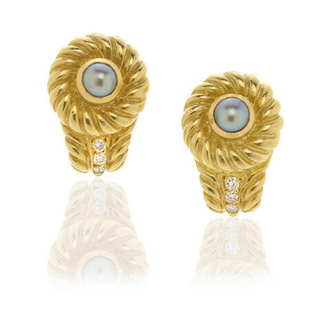 Judity Ripka: Pair of Cultured Pearl and Diamond Ear Clips