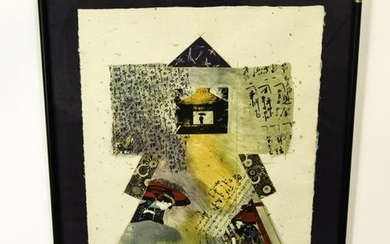 Karyn Young Mixed Media On Handmade Paper, Framed