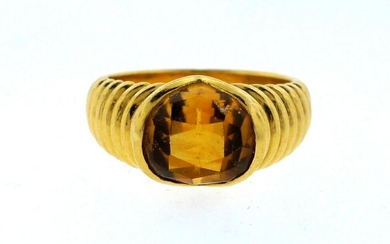 LOVELY Bulgari 18k Yellow Gold & Citrine Ring Circa