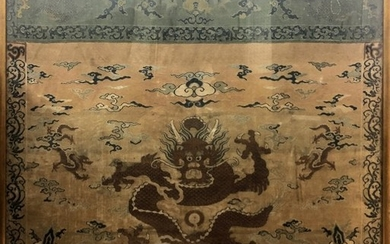 Large Chinese Embroidered Silk Dragon Panel