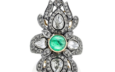 Large diamond shape ring in low title gold, silver and emerald
