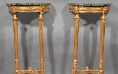 Louis XVI-Style Carved Giltwood Demilune Consoles