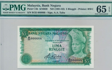 MALAYSIA 4th Series RM5 Solid Numbers B/25 666666. PMG