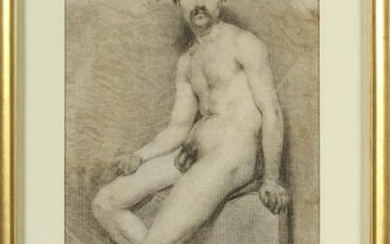 """Male nude study"" charcoal on paper. Anonymous. French..."