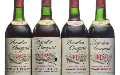 Mixed Beaulieu Vineyards, Private Reserve Cabernet Sauvignon, Beaulieu Vineyards, Private Reserve Cabernet Sauvignon 1960 Slightly bin-soiled labels, one slightly nicked Levels two into neck and one top shoulder (3) 1962 Slightly bin-soiled and nicked...