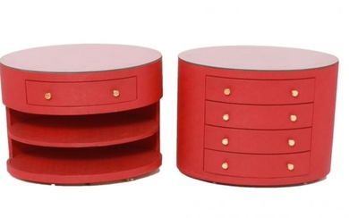 Modern Red Oval Nightstands w Drawers & Shelves