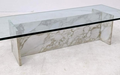 Modernist decorator White Marble and Glass Coffee Table