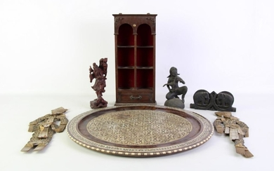 Mother of pearl inlaid tray (dia42cm) together with elephant themed cased scale and others