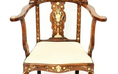 Italian Neoclassical Style Chair with Bone Inlay