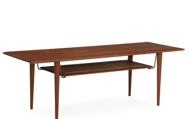 Orla Mølgaard-Nielsen, Peter Hvidt: A solid teak coffee table, underlying shelf with woven cane and...