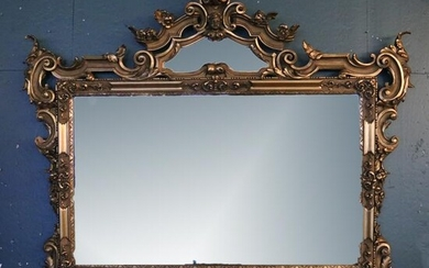 Oversized Antique French Gilt Overmantel Mirror