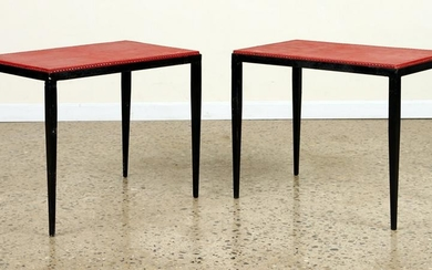PAIR IRON END TABLES MANNER OF JEAN-MICHEL FRANK