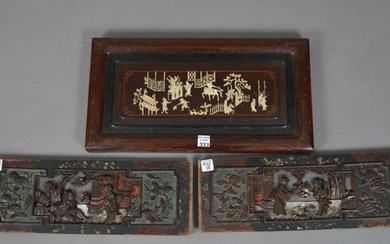 PAIR OF CHINESE CARVINGS WITH EXPORT WAX SEAL AMD ONE