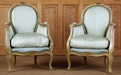 PAIR PETITE CARVED FRENCH BERGERE CHAIRS C.1880