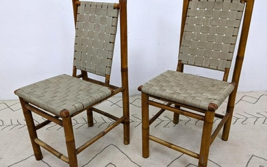 Pair Rustic Bamboo Side Chairs. Woven seat and back.