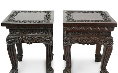 Pair of Chinese Carved Wood Plant Stands