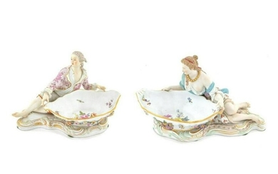 Pair of Large 19th C. Meissen Figural Sweet Meat
