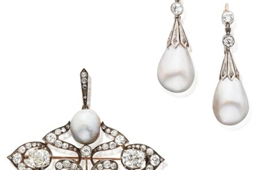 Pair of Silver-Topped Gold, Diamond and Natural Pearl Earrings and Pendant-Brooch